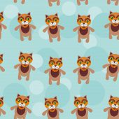 Seamless pattern with funny cute cat animal on a blue background
