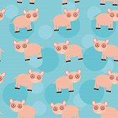 Seamless pattern with funny cute animal pig on a blue background