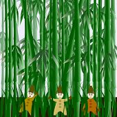 Illustration With Gnomes In The Field Of Bamboo