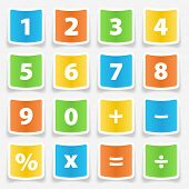 Calculator button number stickers illustration