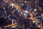Close - up Hi building in Tokyo city at night