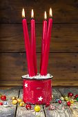 Four Red Christmas Candles - Advent