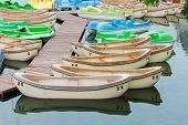 Pleasure Rowing Boats And Pedalos Tied Up On A Lake