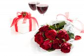 Roses, Wine And Gift.