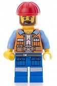 Ankara, Turkey - February 12, 2014 : Lego movie minifigure character Frank the foreman isolated on w