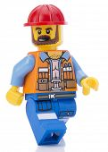 Ankara, Turkey - February 12, 2014 : Lego movie minifigure character Frank the foreman walking isolated on white background