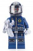 Ankara, Turkey - February 12, 2014 : Lego movie minifigure character Robo Swat isolated on white bac