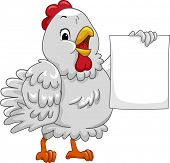 Mascot Illustration Featuring a Hen Holding a Blank Piece of Paper