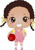 Illustration of an African-American Girl Wearing Basketball Uniform