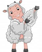 Mascot Illustration Featuring a Sheep Putting on a Dress Made of Wool