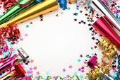 New year's party decoration on white background