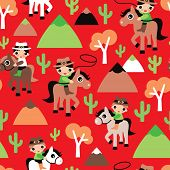 Seamless western retro red cowboy and horse cacti illustration wild west kids background pattern in