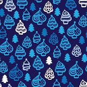 Seamless christmas trees decoration ornament illustration background pattern in vector
