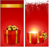 Red banners with 3d realistic gift box and golden bow. Vector illustration.