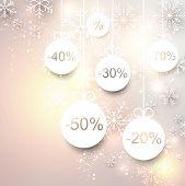 Set of sale christmas balls background. Vector illustration.