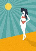 Summer Retro Poster Woman On The Beach Vintage Vector Background