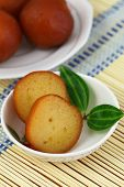 stock photo of gulab  - Gulab jamun dessert in bowl - JPG
