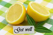 Get well card with two halves of fresh lemon