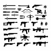 stock photo of mace  - Set icons of weapons isolated on white - JPG