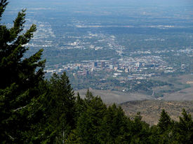 picture of boise  - From Lucky Peak looking down at the Treasure Valley and downtown Boise - JPG
