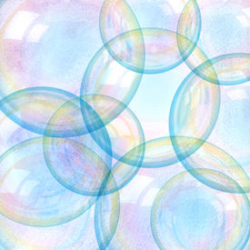 stock photo of bubble sheet  - Beautiful a watercolor background with water bubbles - JPG