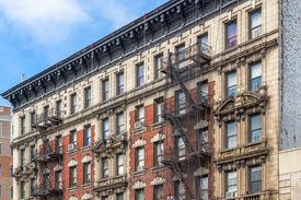 stock photo of brownstone  - Brownstone Homes in New York USA - JPG