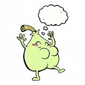 a nice pear cartoon with thought bubble