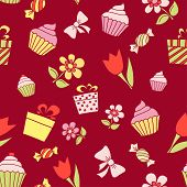 Hand Drawn Holiday Items, Seamless Pattern Background. Vector Illustration.