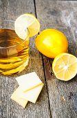 Glass Of Brandy With Lemon