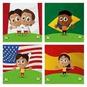 Set of four different happy multicultural boys and girls on flag backgrounds