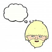 cartoon bearded man with thought bubble