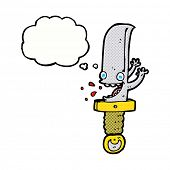 crazy knife cartoon character with thought bubble