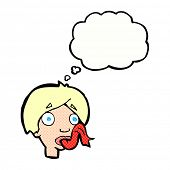 cartoon head sticking out tongue with thought bubble