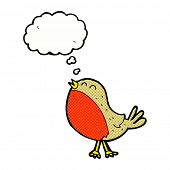 cartoon christmas robin with thought bubble