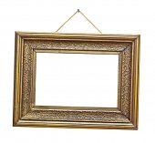 Retro frame on rope isolated on white background