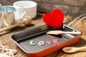 The Word Love In Frying Pan For Love Or Heart Healthy
