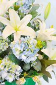 Close Up Beautiful Flowers Bouquet Decorated In Home Room