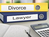 stock photo of lawyer  - divorce and lawyer binders isolated on the office table - JPG