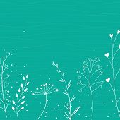 Nature background with white branches and hand drawn plants. Vector spring backdrop.