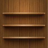 Blank Wooden Bookshelf. Vector Illustration