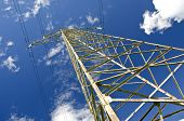 image of utility pole  - electricity high voltage metal pole construction and sky - JPG