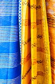 Indian shawls in a market