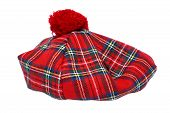 foto of headgear  - Traditional Scottish Red Tartan Bonnet also named Tam o - JPG