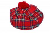 image of headgear  - Traditional Scottish Red Tartan Bonnet also named Tam o - JPG