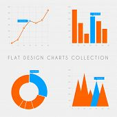 foto of line graph  - Set of vector flat design infographics statistics charts and graphs  - JPG
