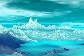 3D Rendered Fantasy Alien Planet. Highlands