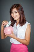 Beautiful Asian Girl Smile Put A Bill To Pink Pig Money Box