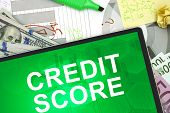 Tablet with words Credit score