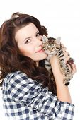 Beautiful woman with a small kitten.