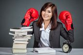 Asian Businesswoman Ready To Fight